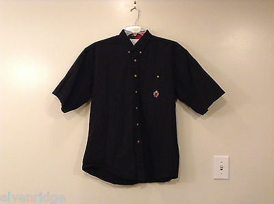 Perruzo Men's Size L Button-Down Shirt Black Short Sleeves 100% Cotton w/ Pocket