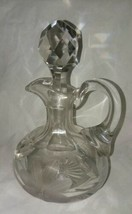ABP Cut Glass Cruet Vintage Oil or Vinegar Bottle Punty Wheel Cut Flowers Leaves - $18.99