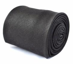Frederick Thomas mens 100% wool tie in plain black tweed FT3397