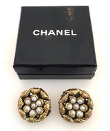 Vintage 1983 Chanel Gold Toned & Pearl Clip Back Round Earrings In Box - $425.00
