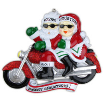 Motorcycle Ride Couple Mr & Mrs Claus  Personalized Christmas Tree Ornament - $14.95