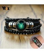 Vnox Aries 12 Horoscope Multi-layer Leather Rope Bracelets for Men Women... - $9.99