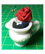 Mini Water Pitcher Pincushion Milk Glass Romantic Rose Handmade +Decorat... - £9.60 GBP