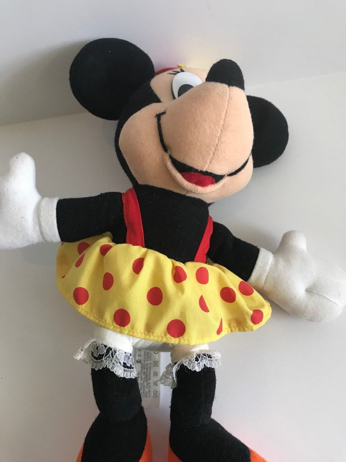 Mattel Arcotoys Minnie Mouse Yellow Red Polka Dot Flower Hat Plush Stuffed Doll image 7