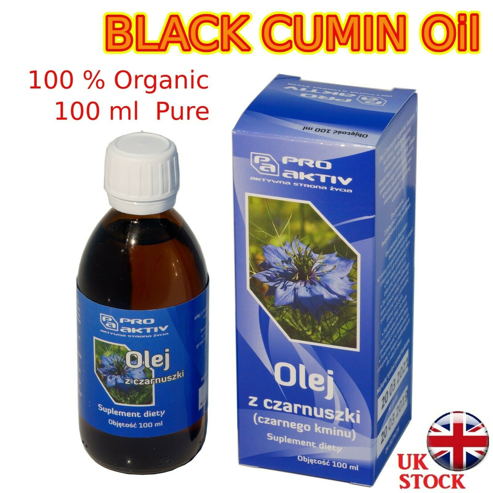 BLACK CUMIN OIL 100ml Natural Unrefined Cold Pressed 100% Pure Olej z Czarnuszki - $15.39