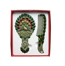 Exquisite Retro Portable Cosmetic Mirror and Comb Set, Peacock, Green