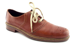 COLE HAAN Size 11 Medium Brown Leather Medallion Toe Oxfords Shoes - $64.00