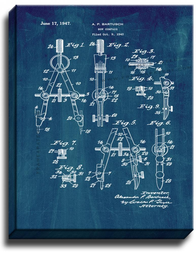 Primary image for Bow Compass Patent Print Midnight Blue on Canvas