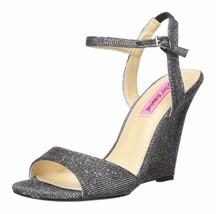 Betsey Johnson Black Glitter Duane Metallic Open Toe Platform Wedge Heels 9 - $35.60