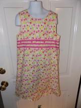 Lilly Pulitzer Tulip Dress Ribbon Scallop Hem Pink Yellow Green Size 8 G... - $38.22