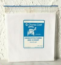 "Charles Craft 14 Count White Aida Cross Stitch Fabric 100% Cotton - 12"" ... - $4.70"