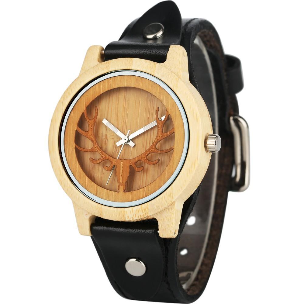 Wood Watch Nature Bamboo Handmade Wrist Watch Bamboo Wristwatch-Brown