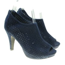 Madden Girl Womens Navy Blue Perforated Design Back Zip Peep Toe Heels 6... - $18.80