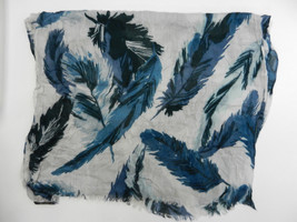 Banana Republic Scarf One Size Blue White Leaf Print Fringe Viscose Fall... - $18.69