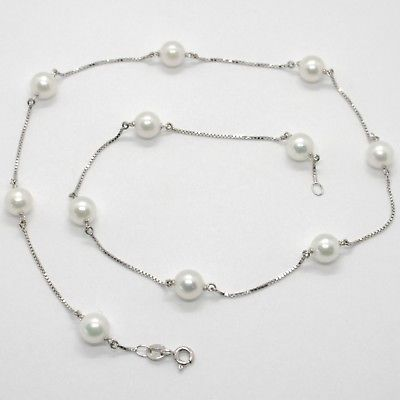 18K WHITE GOLD NECKLACE, VENETIAN CHAIN ALTERNATE WITH AKOYA WHITE PEARLS 7.5 MM