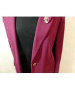 Wome M L XL 14 16 Jacket Coat Blazer Button Career Solid Collar Knit Woo... - $25.75