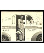 Milkman Photograph Milk Bottles Delivery Truck Hillside Farm Logo Bib Ov... - $19.99