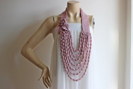 Dusty Pink Necklace-Rose Necklace-Crochet Infinity Scarf-Dusty Pink Rose... - $23.00