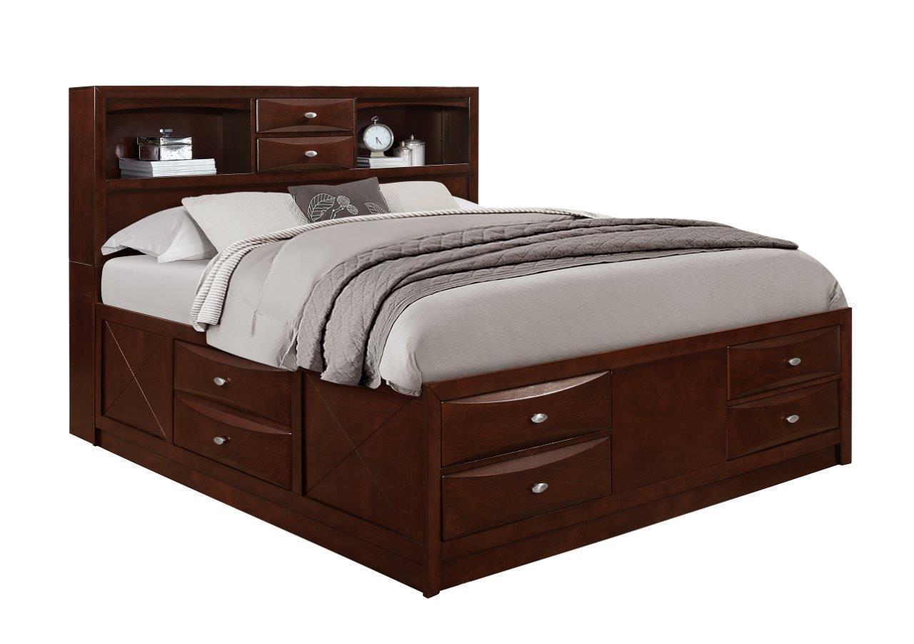 Queen Size Storage Bedroom Sets: Global Furniture Linda Merlot Traditional Storage Queen