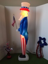 "Rare NEW 36"" Vtg Union Uncle Sam Patriotic July 4th Lighted Blow Mold Decor - €76,34 EUR"