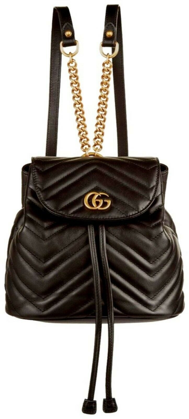 2dc0ea5c844 NWT Gucci GG Marmont black leather small backpack bag   Rtl  1980 -   1
