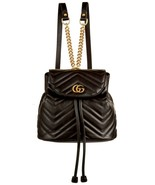 NWT Gucci GG Marmont black leather small backpack bag ; Rtl $1980 - $1,728.42