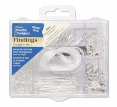 Darice Jewelry Findings Starter Kit with Caddy, Bright Silver, 178 Pieces - $10.49
