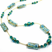 LONG NECKLACE BLUE MURANO GLASS RECTANGLE TUBE, SPHERE, GOLD LEAF, ITALY MADE image 2