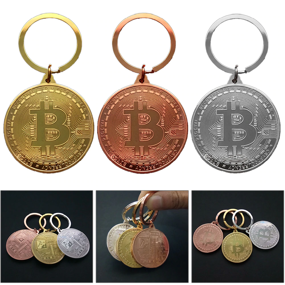 Gold Plated Bitcoin Coin Key Chain BTC Coin Art Collection Design Key Ring Gift