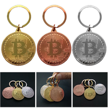 Gold Plated Bitcoin Coin Key Chain BTC Coin Art Collection Design Key Ring Gift image 1