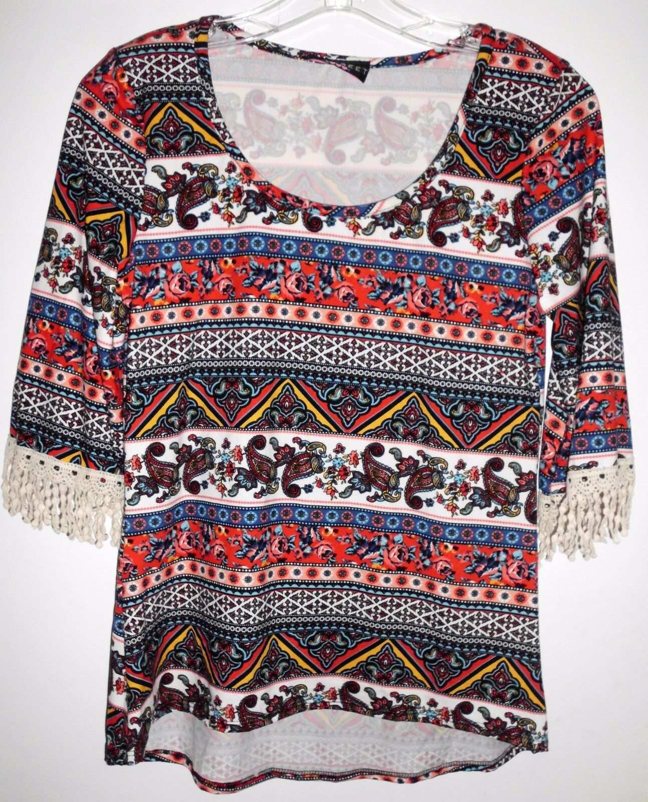 "Primary image for DISCREET Shirt Top 34"" Bust SMALL Women Crochet Embellished 3/4 Sleeves Boho"