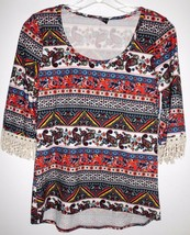 "DISCREET Shirt Top 34"" Bust SMALL Women Crochet Embellished 3/4 Sleeves ... - $12.46"