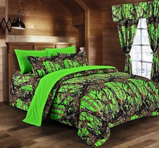 The Woods Camo BIoHazard Green 12 piece Queen Comforter and Sheet and Cu... - $95.00