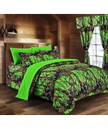 The Woods Camo BIoHazard Green 12 piece Queen Comforter and Sheet and Cu... - $90.25