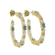 White cz Blue Turquoises stone paved cz cluster Circle Hoop earring for ... - $17.01