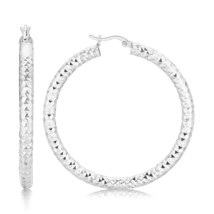 Womens Sterling Silver Thick Faceted Large Hoop Earrings with Rhodium Plating - $47.55