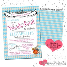 Alice in Wonderland ANY OCCASION Printable invitation thank you Personal... - $9.60