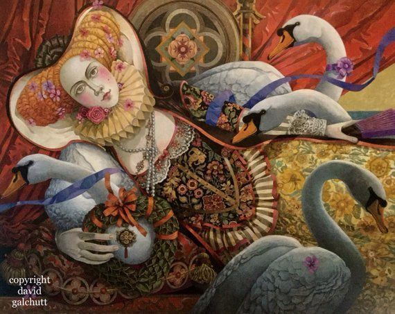 "Primary image for David Galchutt ""the swan sitter"" Original Fine Art Oil Painting 16"" x 20"""