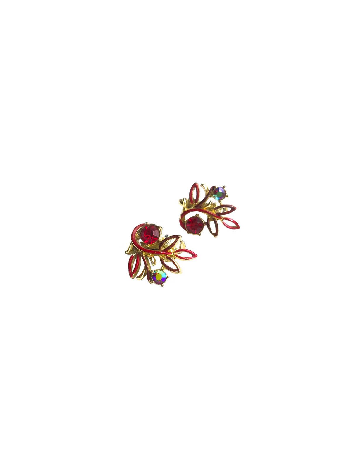 50s Corocraft Aurora Borealis Ruby Red Rhinestones Red Enamel clip on earrings s