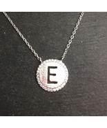 """14k Layer On Solid .925 Silver Letter """"E"""" CZ Handset Cable Link Necklace... - $28.57"""