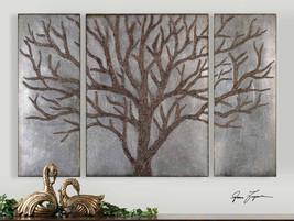 "STUNNING 60"" THREE PANEL BROWN TREE SILVER LEAF WALL ART PANELS RUSTIC M... - $433.40"