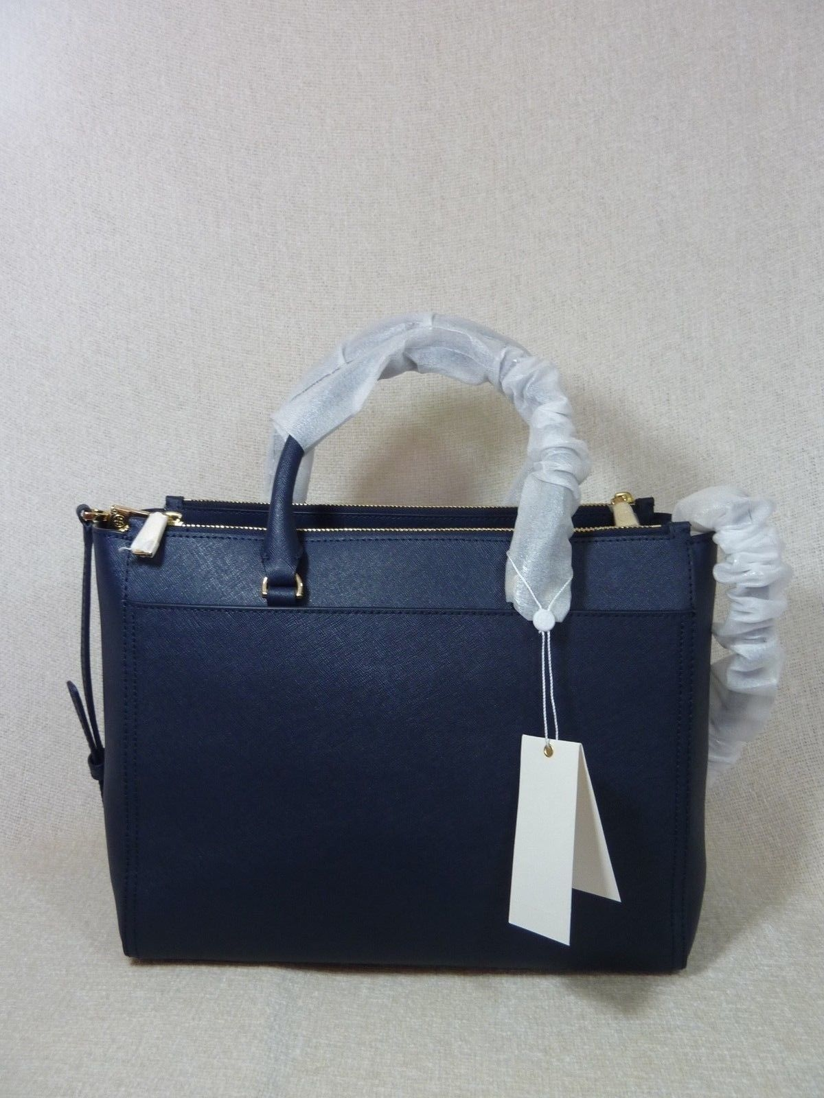 Tory Burch Navy Blue Saffiano Leather Robinson Double-Zip Tote $458 image 4
