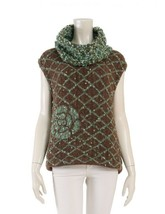 Chanel sleeveless knit P18082 wool nylon Camel Camellia design Auth - $968.48