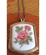 "LOVELY VINTAGE/RETRO PINK ROSE ""AVON"" PENDENT & NECKLACE, MARKED - $7.25"