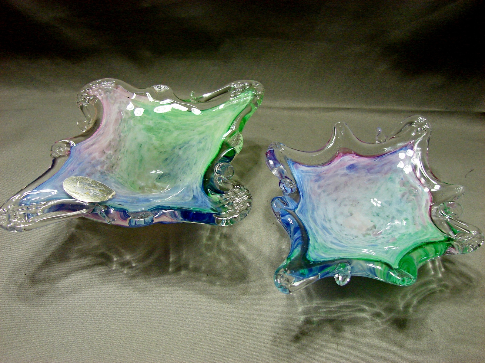 2 Crystal Clear Italian Art Glass Candy DishesDesigned to Resemble Murano - $12.99