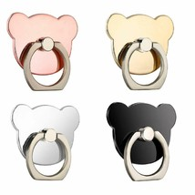 4pcs Cartoon Bear Shape Phone Finger Ring 360 Degree Rotating Ring Grip Anti