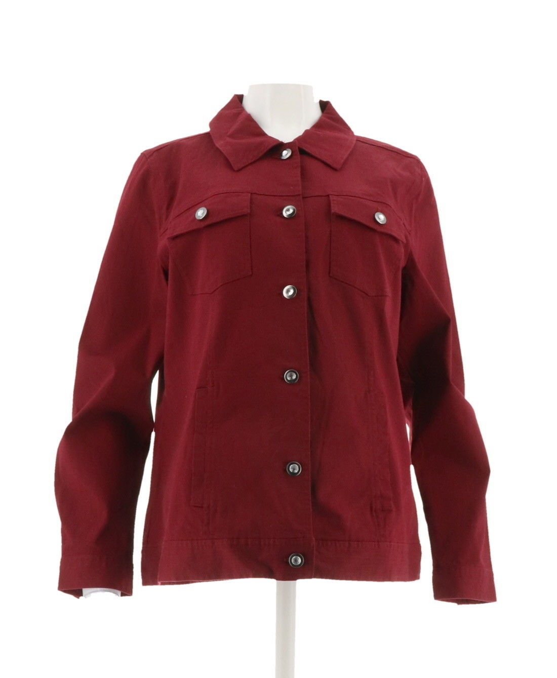 Denim Co Pretty Stretch Twill Jean Jacket Bling Buttons Fall Wine M NEW A199936