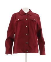 Denim Co Pretty Stretch Twill Jean Jacket Bling Buttons Fall Wine M NEW ... - $27.70