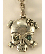 Skull Pendant Silver Colored Metal Green Crystal Eyes Lanyard Cell Phone... - $12.00