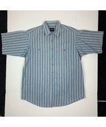 Patagonia Button Shirt Short Sleeve Cotton Blue Stripes Men Sz L - $36.99